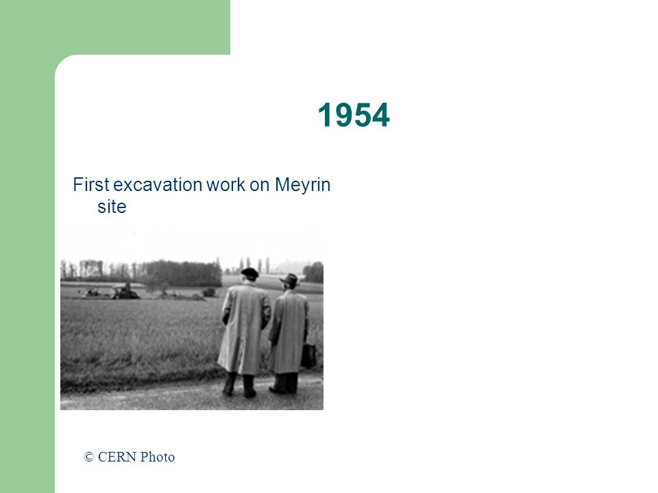 1954 First excavation work on Meyrin site © CERN Photo