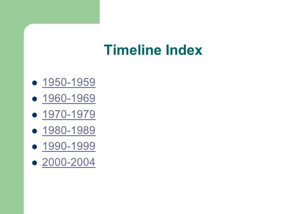 Timeline Index 1950-1959 1960-1969 1970-1979 1980-1989 1990-1999 2000-2004