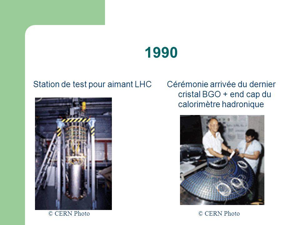 1990 Station de test pour aimant LHCCérémonie arrivée du dernier cristal BGO + end cap du calorimètre hadronique © CERN Photo