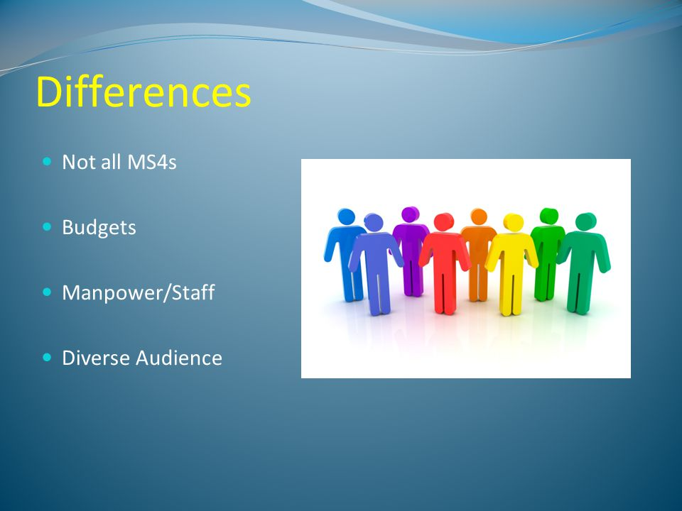 Differences Not all MS4s Budgets Manpower/Staff Diverse Audience