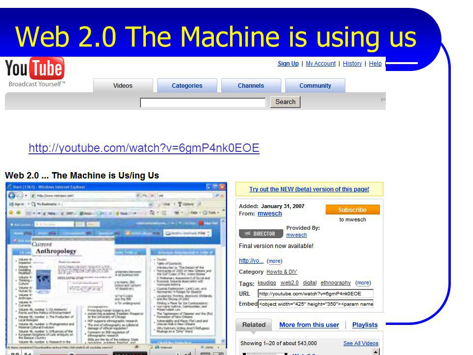 Web 2.0 The Machine is using us http://youtube.com/watch?v=6gmP4nk0EOE