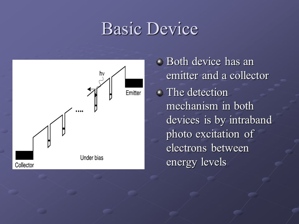 Basic Device Both device has an emitter and a collector The detection mechanism in both devices is by intraband photo excitation of electrons between