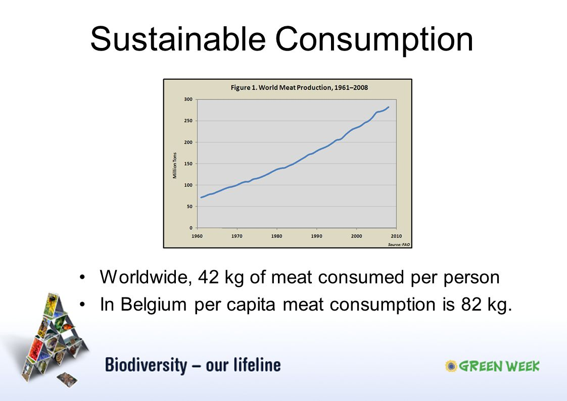 Worldwide, 42 kg of meat consumed per person In Belgium per capita meat consumption is 82 kg. Sustainable Consumption
