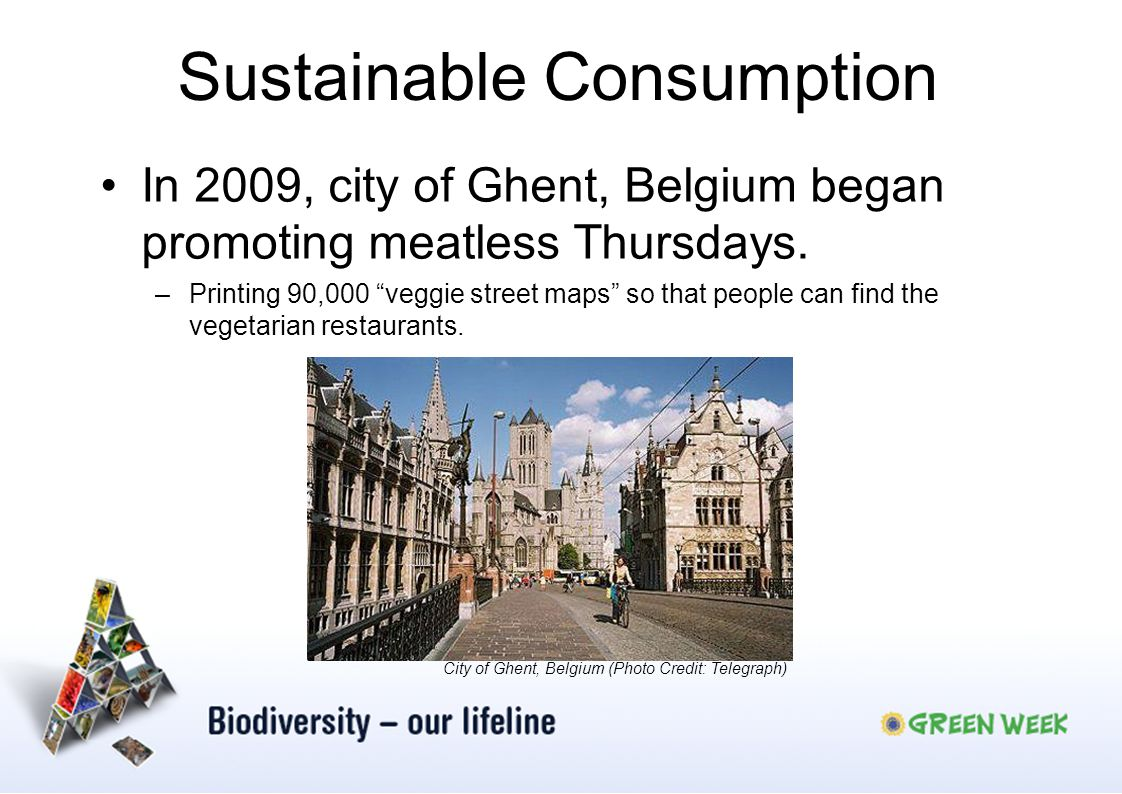 Sustainable Consumption In 2009, city of Ghent, Belgium began promoting meatless Thursdays. –Printing 90,000 veggie street maps so that people can fin