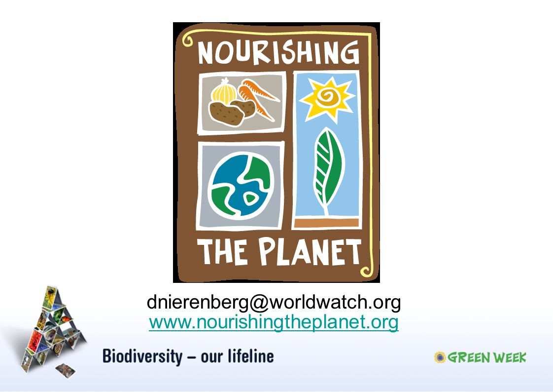 www.nourishingtheplanet.org dnierenberg@worldwatch.org