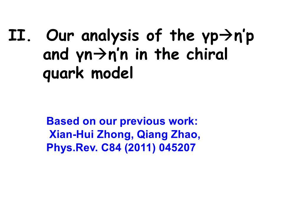 II. Our analysis of the γp ηp and γn ηn in the chiral quark model Based on our previous work: Xian-Hui Zhong, Qiang Zhao, Phys.Rev. C84 (2011) 045207