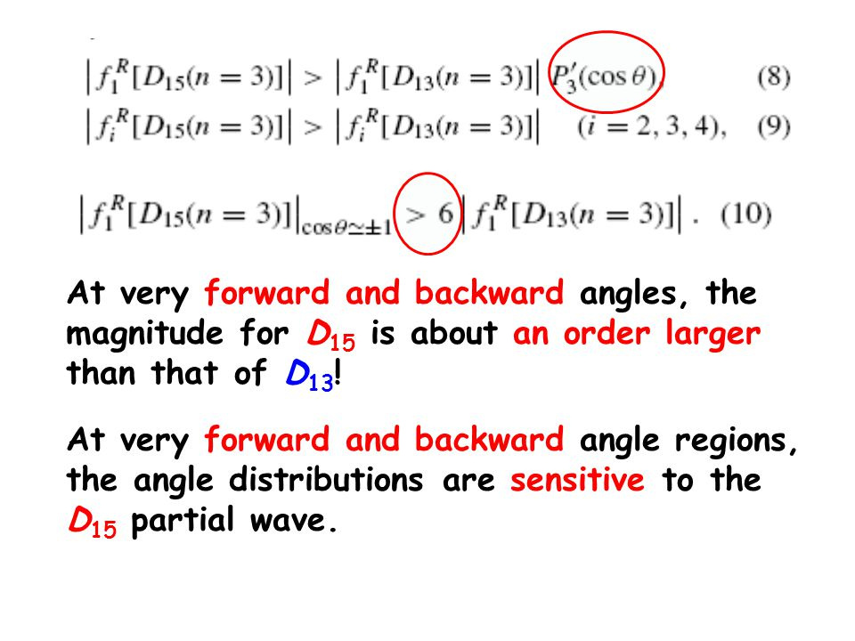 At very forward and backward angles, the magnitude for D 15 is about an order larger than that of D 13 .