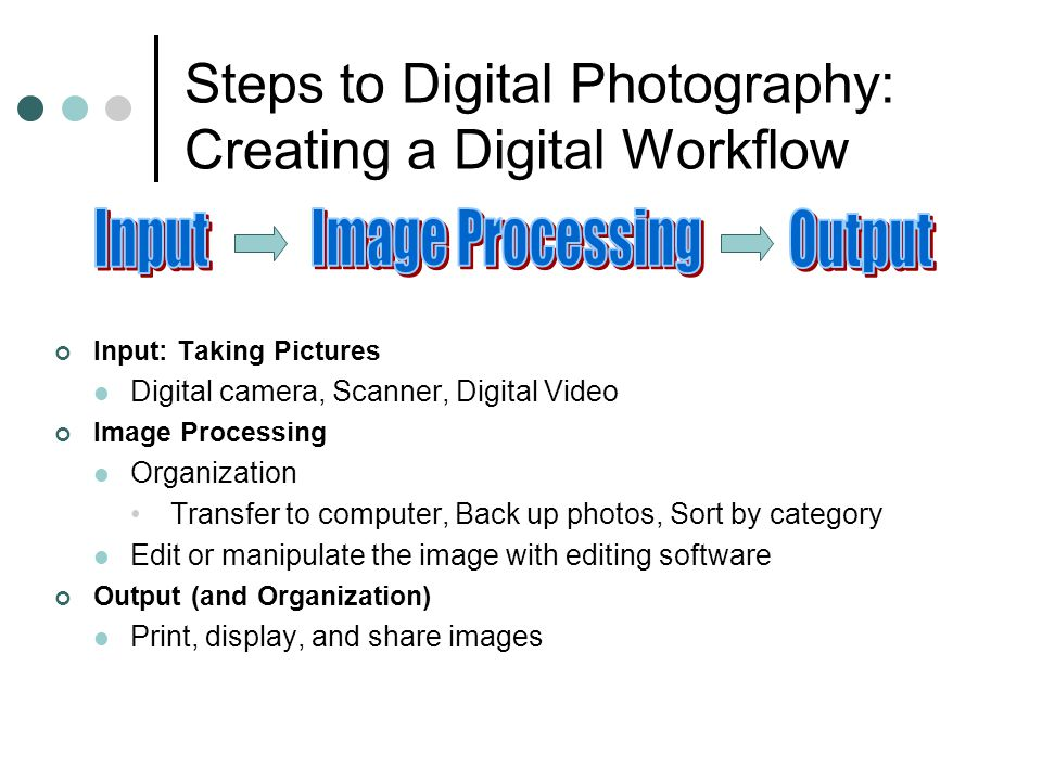 Steps to Digital Photography: Creating a Digital Workflow Input: Taking Pictures Digital camera, Scanner, Digital Video Image Processing Organization Transfer to computer, Back up photos, Sort by category Edit or manipulate the image with editing software Output (and Organization) Print, display, and share images