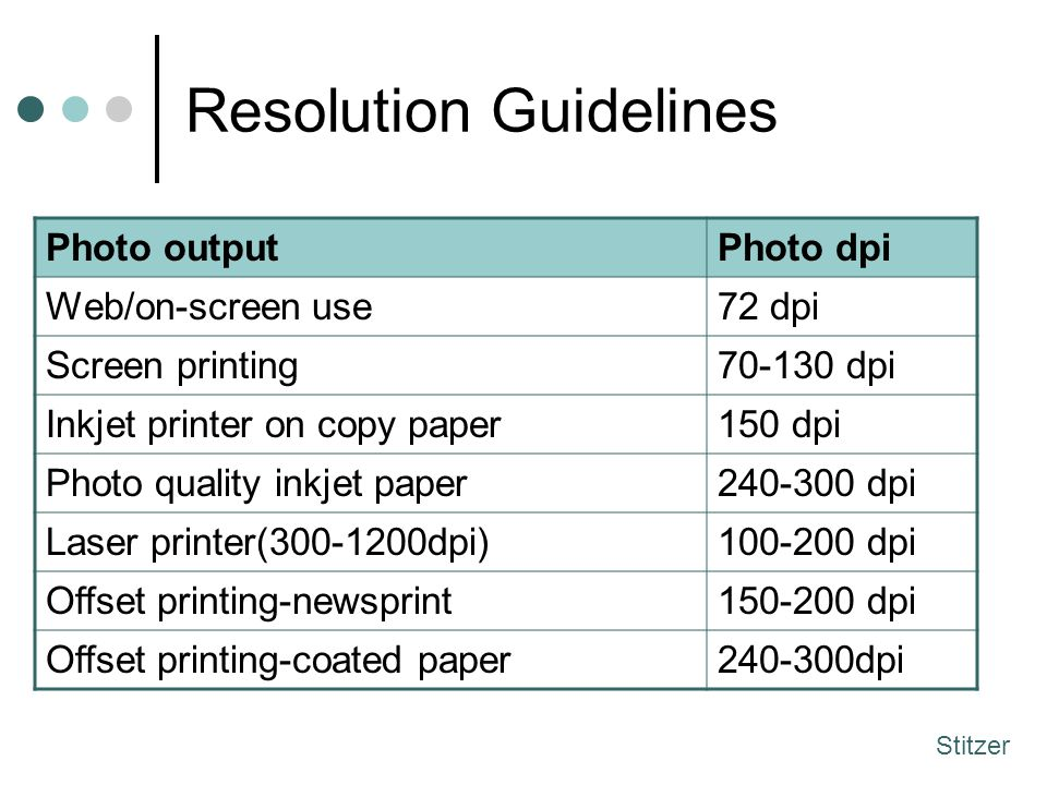 Resolution Guidelines Photo outputPhoto dpi Web/on-screen use72 dpi Screen printing70-130 dpi Inkjet printer on copy paper150 dpi Photo quality inkjet paper240-300 dpi Laser printer(300-1200dpi)100-200 dpi Offset printing-newsprint150-200 dpi Offset printing-coated paper240-300dpi Stitzer