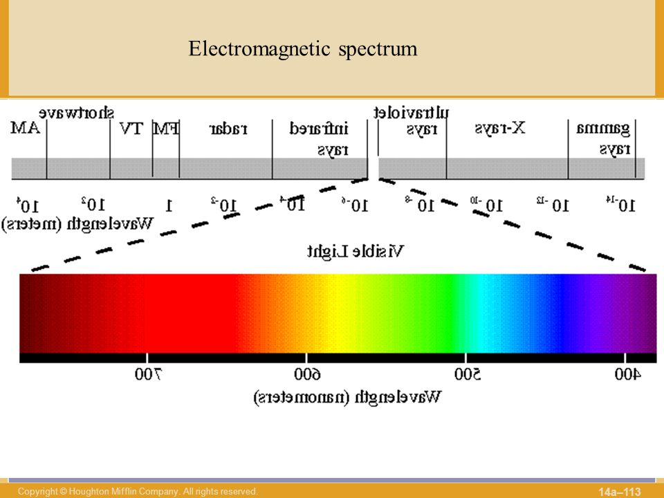 Copyright © Houghton Mifflin Company. All rights reserved. 14a–113 Electromagnetic spectrum λ ν