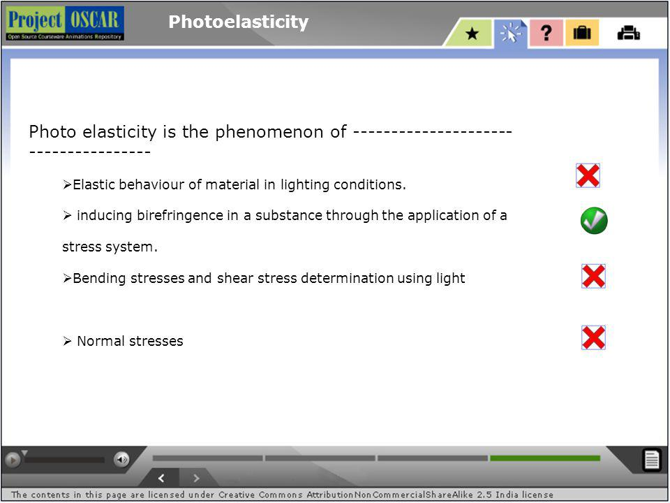 Photoelasticity Photo elasticity is the phenomenon of --------------------- ---------------- Elastic behaviour of material in lighting conditions.