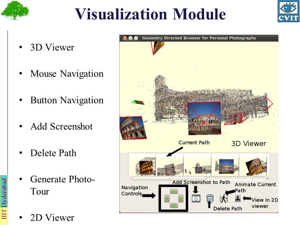 IIIT Hyderabad Visualization Module 3D Viewer Mouse Navigation Button Navigation Add Screenshot Delete Path Generate Photo- Tour 2D Viewer