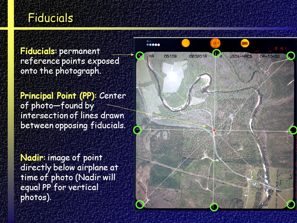 FiducialsFiducials Fiducials: permanent reference points exposed onto the photograph. Principal Point (PP): Center of photofound by intersection of li