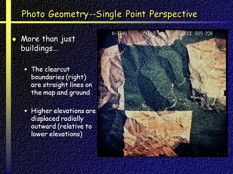 Photo Geometry--Single Point Perspective More than just buildings… The clearcut boundaries (right) are straight lines on the map and ground Higher elevations are displaced radially outward (relative to lower elevations)