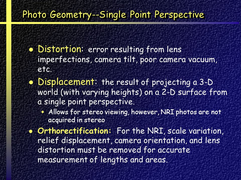 Photo Geometry--Single Point Perspective Distortion: error resulting from lens imperfections, camera tilt, poor camera vacuum, etc.