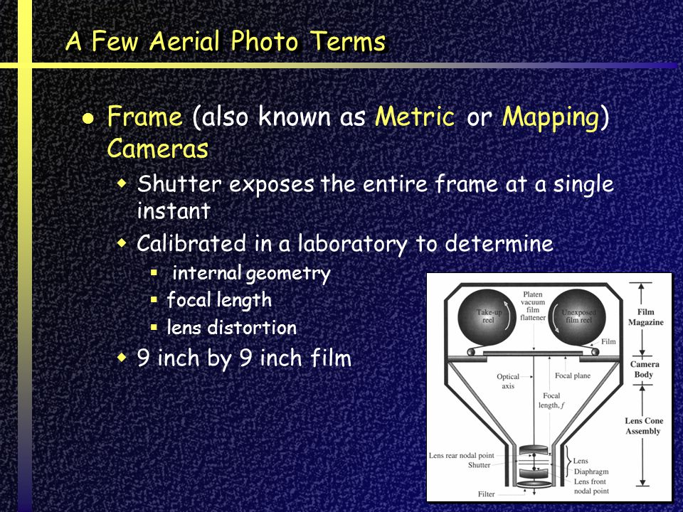 A Few Aerial Photo Terms Frame (also known as Metric or Mapping) Cameras Shutter exposes the entire frame at a single instant Calibrated in a laboratory to determine internal geometry focal length lens distortion 9 inch by 9 inch film