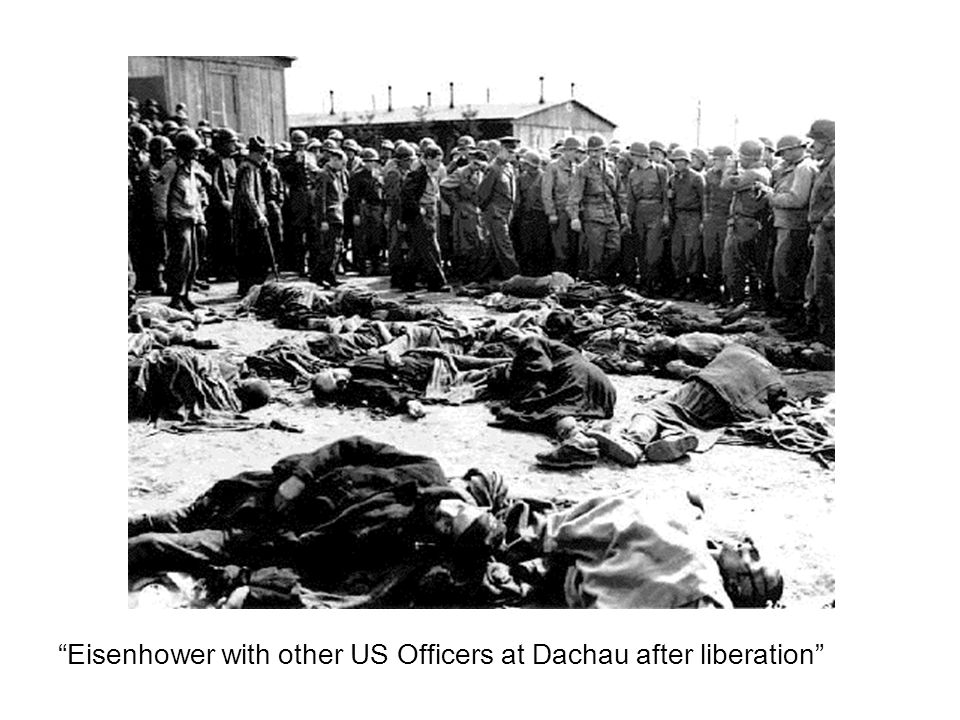 Eisenhower with other US Officers at Dachau after liberation