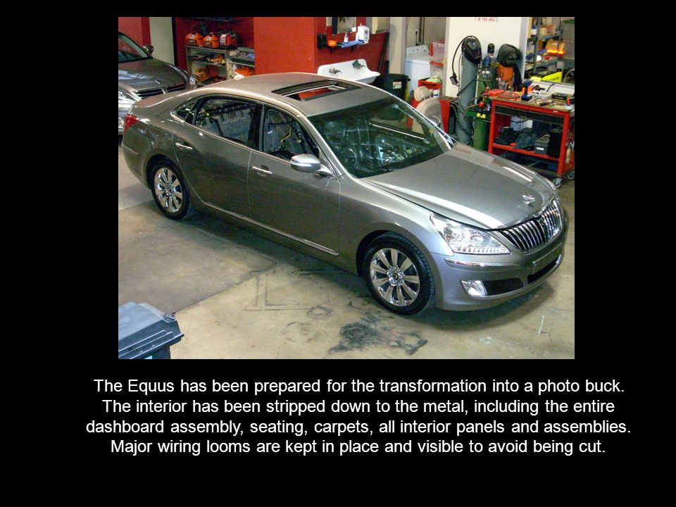 The following photo essay shows a 2011 Hyundai Equus Sedan being transformed from a running passenger car into a specialized platform used for photographing the cars interior for television commercials, still photography and internet advertising.