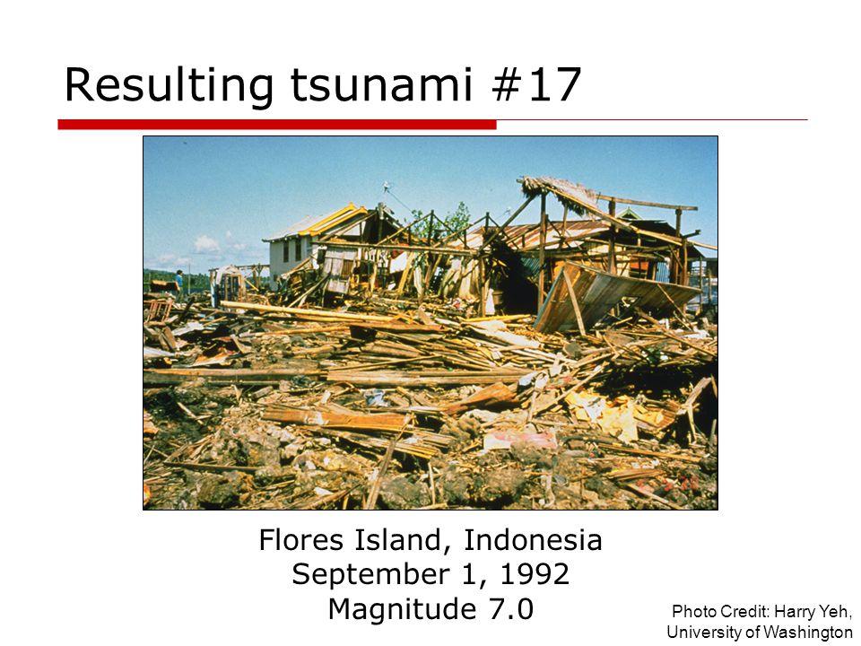 Resulting tsunami #17 Flores Island, Indonesia September 1, 1992 Magnitude 7.0 Photo Credit: Harry Yeh, University of Washington