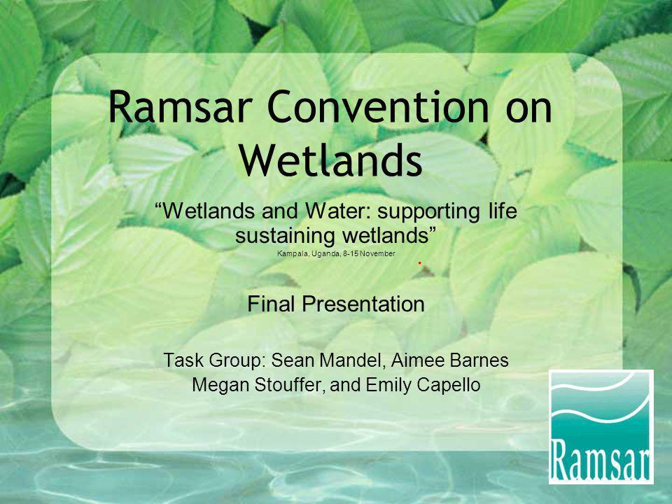 Ramsar Convention on Wetlands Wetlands and Water: supporting life sustaining wetlands Kampala, Uganda, 8-15 November Final Presentation Task Group: Se