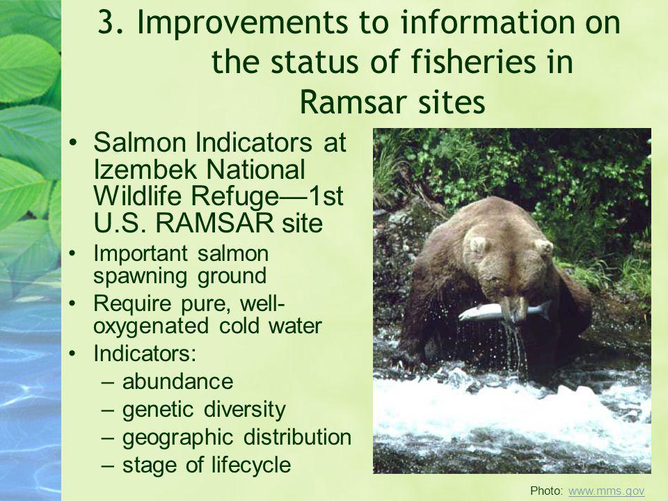 3. Improvements to information on the status of fisheries in Ramsar sites Salmon Indicators at Izembek National Wildlife Refuge1st U.S. RAMSAR site Im