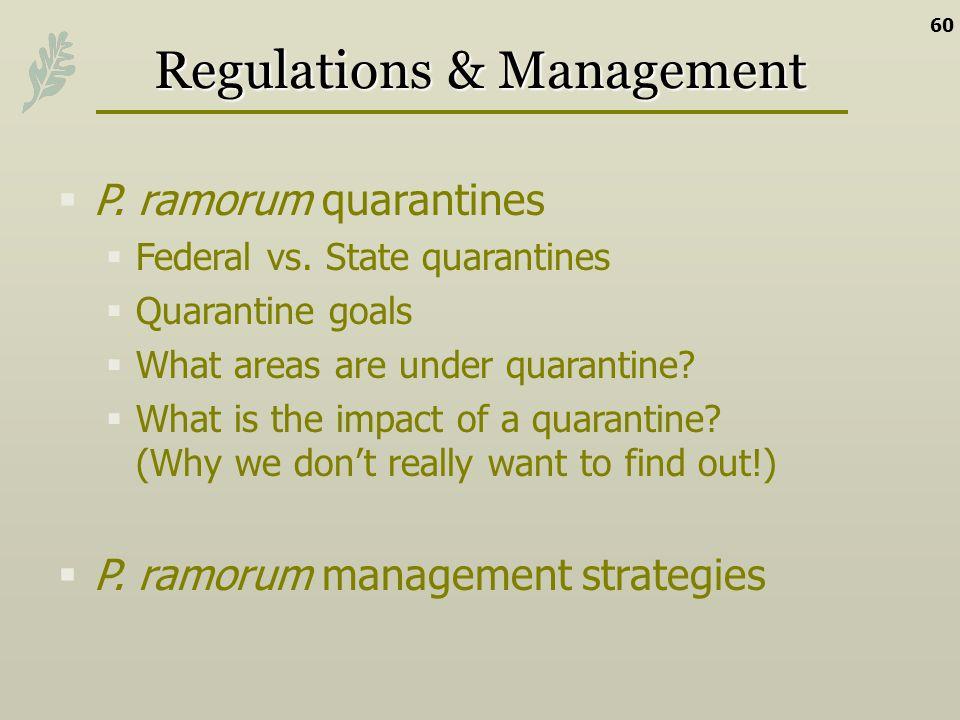Regulations & Management P. ramorum quarantines Federal vs. State quarantines Quarantine goals What areas are under quarantine? What is the impact of