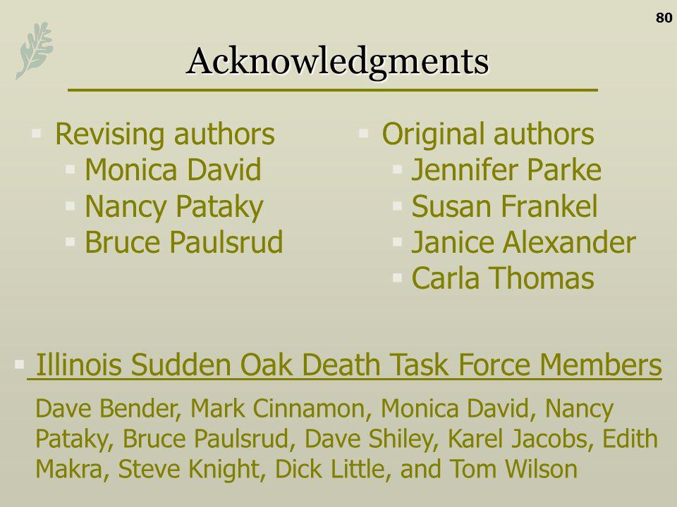 Acknowledgments Original authors Jennifer Parke Susan Frankel Janice Alexander Carla Thomas 80 Revising authors Monica David Nancy Pataky Bruce Paulsr