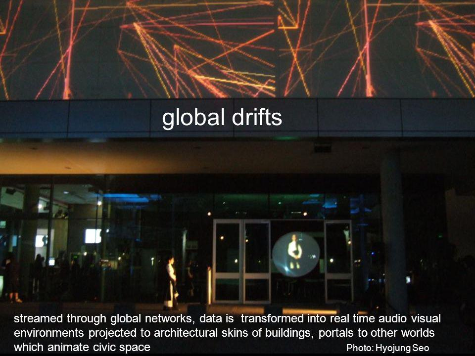 streamed through global networks, data is transformed into real time audio visual environments projected to architectural skins of buildings, portals to other worlds which animate civic space Photo: Hyojung Seo global drifts