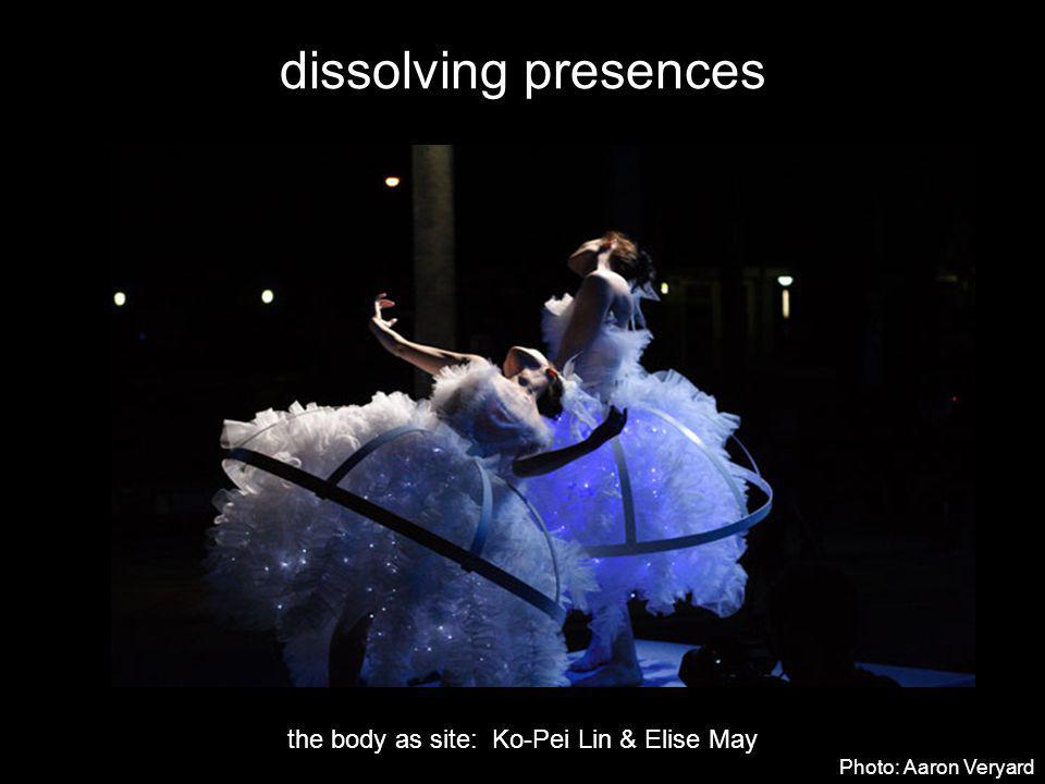 dissolving presences the body as site: Ko-Pei Lin & Elise May Photo: Aaron Veryard