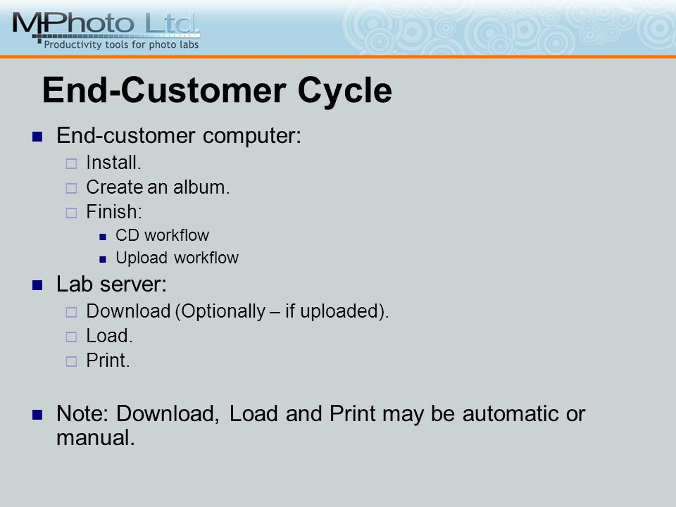 End-Customer Cycle End-customer computer: Install. Create an album. Finish: CD workflow Upload workflow Lab server: Download (Optionally – if uploaded