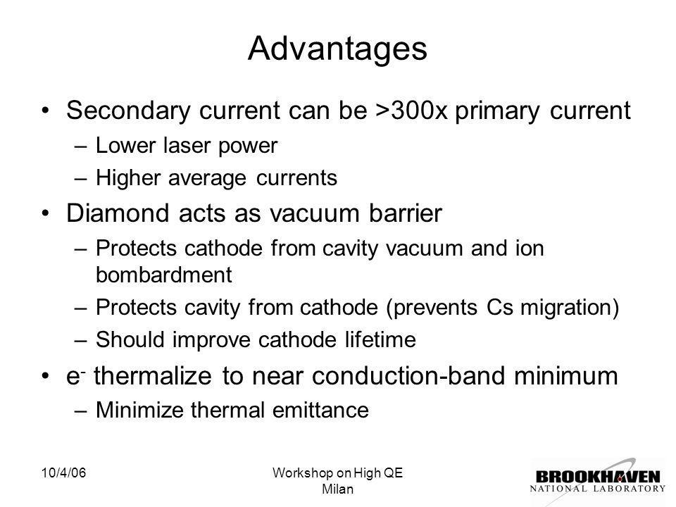10/4/06Workshop on High QE Milan Advantages Secondary current can be >300x primary current –Lower laser power –Higher average currents Diamond acts as vacuum barrier –Protects cathode from cavity vacuum and ion bombardment –Protects cavity from cathode (prevents Cs migration) –Should improve cathode lifetime e - thermalize to near conduction-band minimum –Minimize thermal emittance
