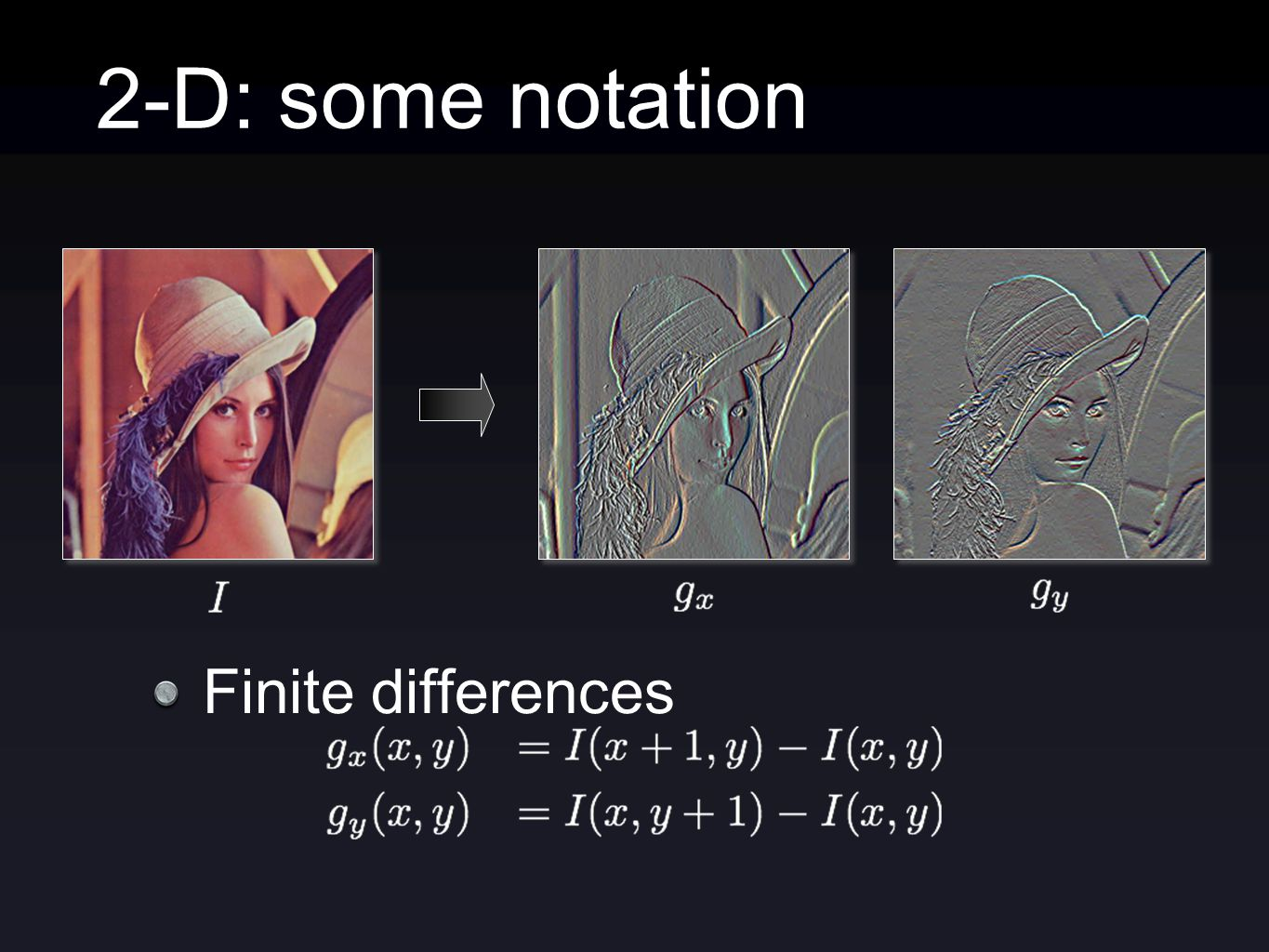 2-D: some notation Finite differences