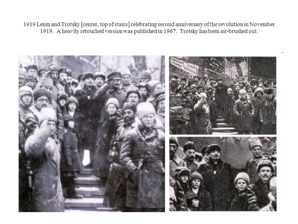 1919 Lenin and Trotsky [center, top of stairs] celebrating second anniversary of the revolution in November 1919.
