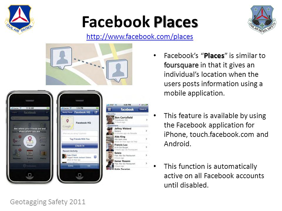 Places Facebook Places http://www.facebook.com/places http://www.facebook.com/places Places foursquare Facebooks Places is similar to foursquare in th
