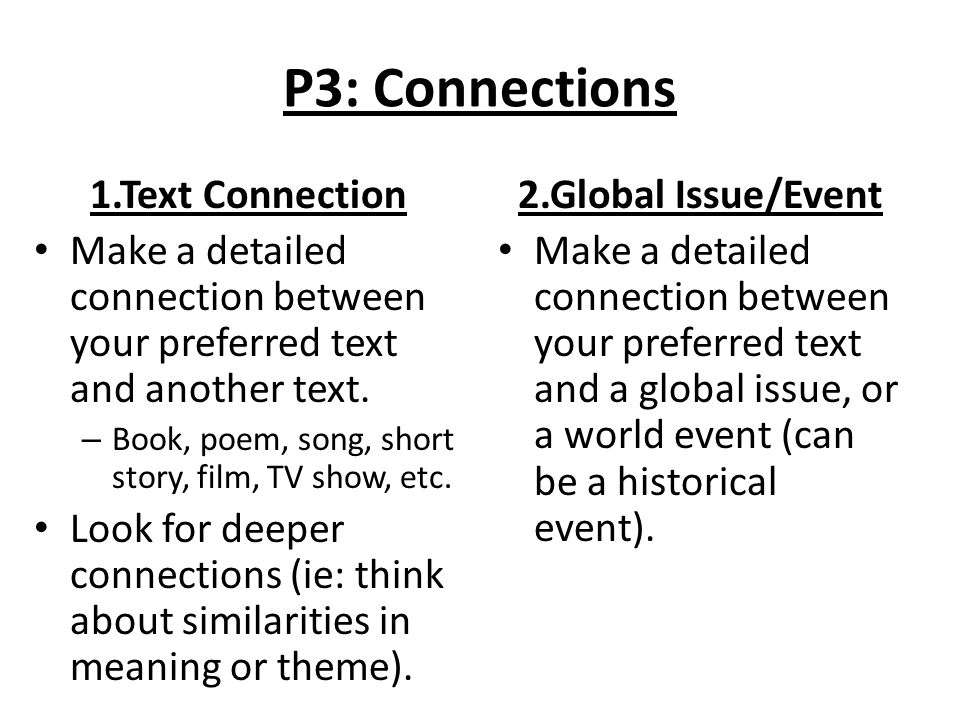 P3: Connections 1.Text Connection Make a detailed connection between your preferred text and another text.