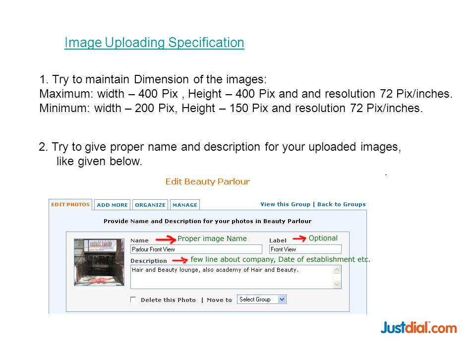 Image Uploading Specification 1.
