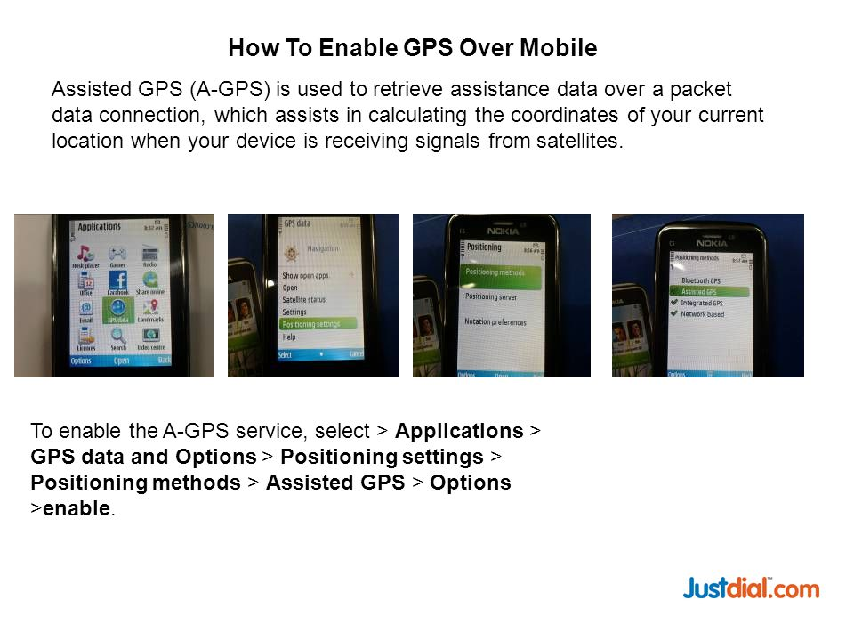Assisted GPS (A-GPS) is used to retrieve assistance data over a packet data connection, which assists in calculating the coordinates of your current location when your device is receiving signals from satellites.