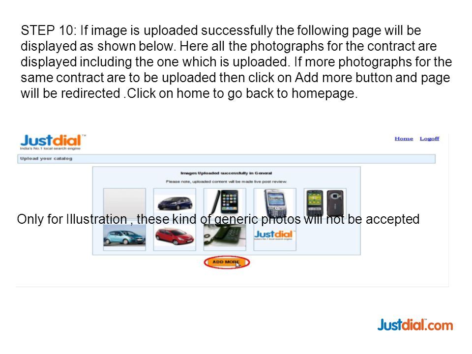 STEP 10: If image is uploaded successfully the following page will be displayed as shown below.