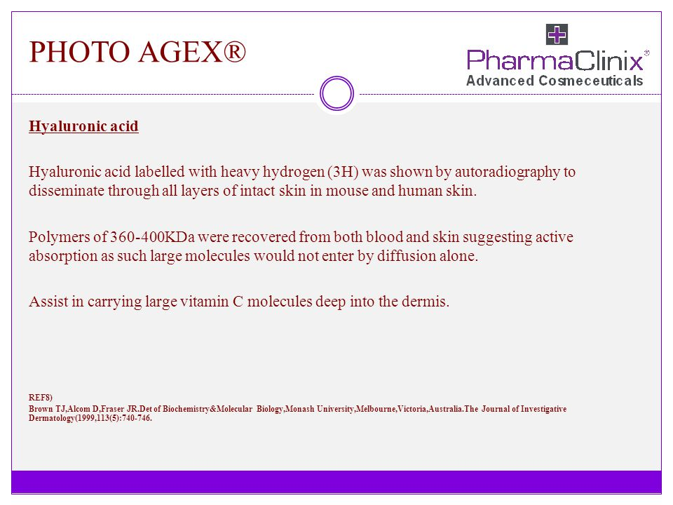 PHOTO AGEX® Hyaluronic acid Hyaluronic acid labelled with heavy hydrogen (3H) was shown by autoradiography to disseminate through all layers of intact