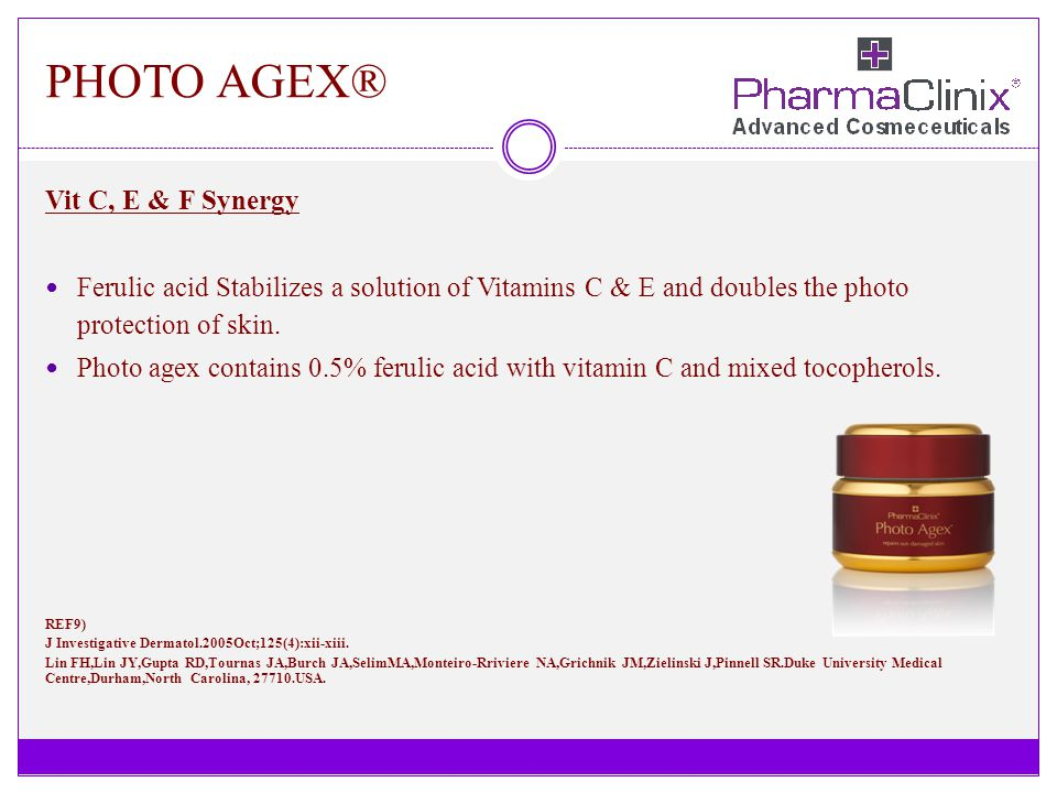 PHOTO AGEX® Vit C, E & F Synergy Ferulic acid Stabilizes a solution of Vitamins C & E and doubles the photo protection of skin. Photo agex contains 0.