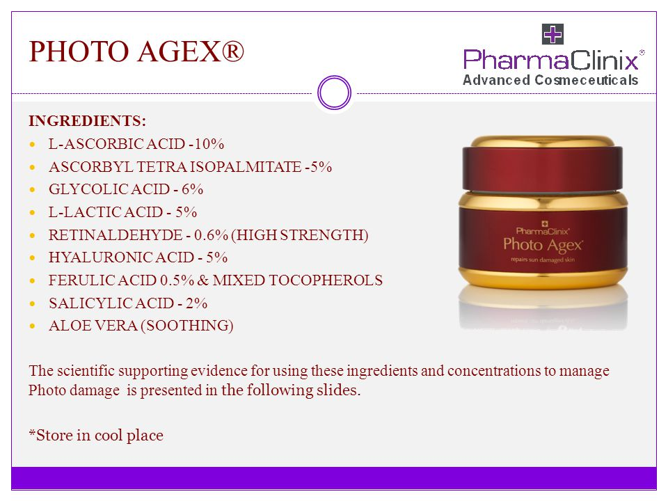PHOTO AGEX® INGREDIENTS: L-ASCORBIC ACID -10% ASCORBYL TETRA ISOPALMITATE -5% GLYCOLIC ACID - 6% L-LACTIC ACID - 5% RETINALDEHYDE - 0.6% (HIGH STRENGT