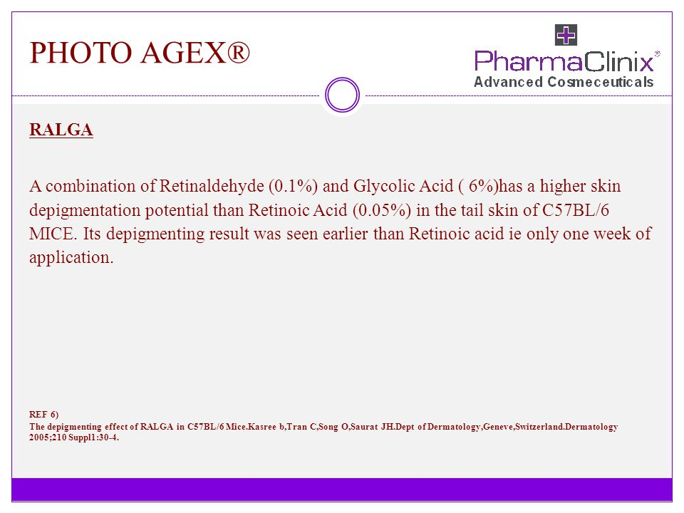 PHOTO AGEX® RALGA A combination of Retinaldehyde (0.1%) and Glycolic Acid ( 6%)has a higher skin depigmentation potential than Retinoic Acid (0.05%) i