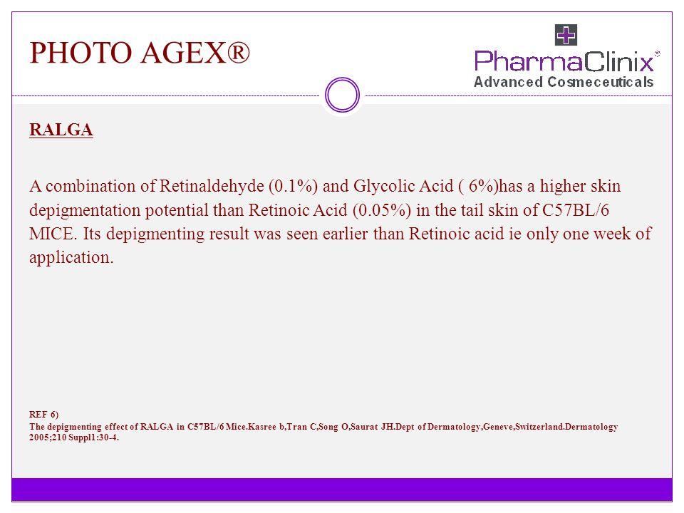 PHOTO AGEX® RALGA A combination of Retinaldehyde (0.1%) and Glycolic Acid ( 6%)has a higher skin depigmentation potential than Retinoic Acid (0.05%) i