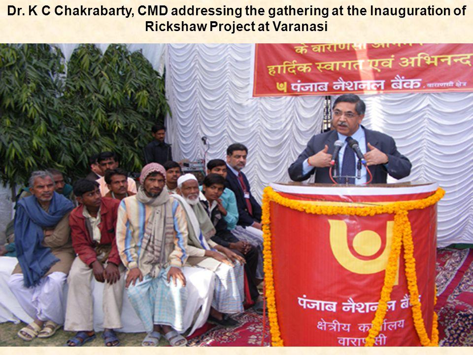 Dr. K C Chakrabarty, CMD addressing the gathering at the Inauguration of Rickshaw Project at Varanasi