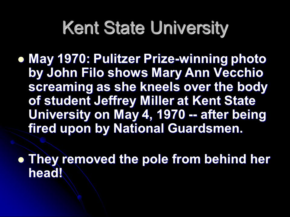 May 1970: Pulitzer Prize-winning photo by John Filo shows Mary Ann Vecchio screaming as she kneels over the body of student Jeffrey Miller at Kent Sta