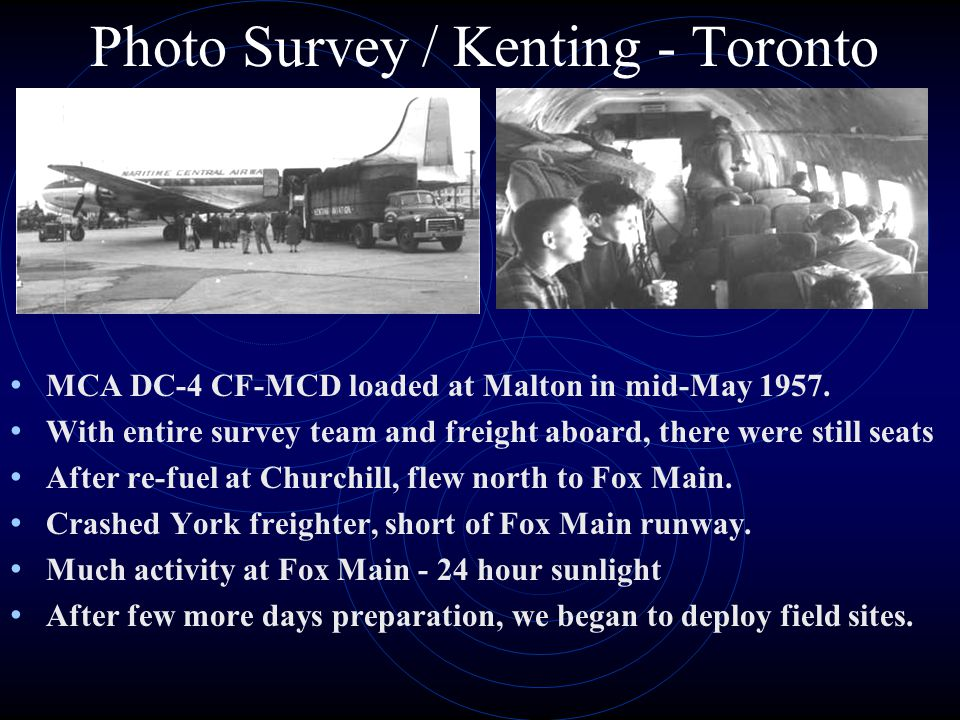 Photo Survey / Kenting - Toronto MCA DC-4 CF-MCD loaded at Malton in mid-May 1957.