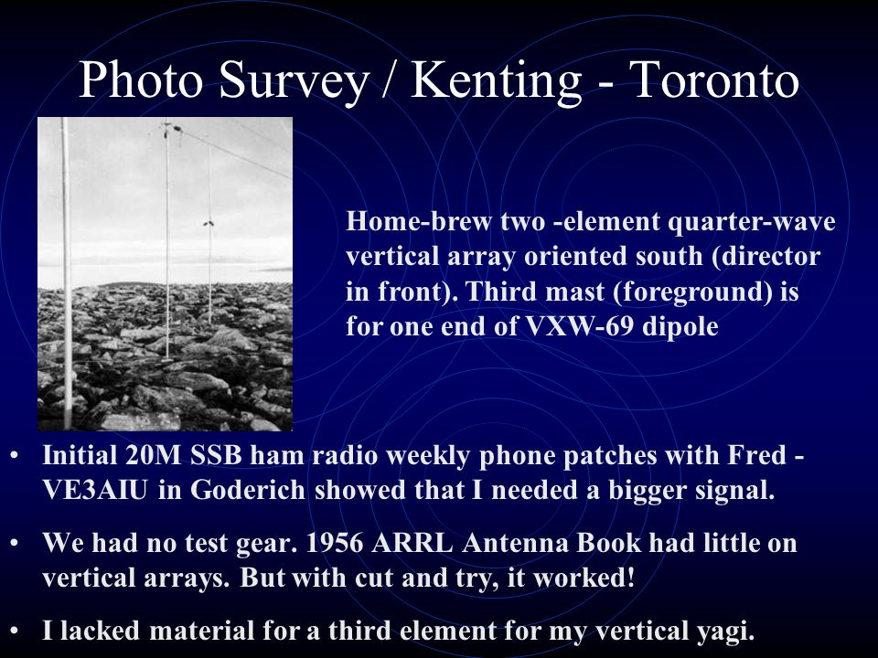 Photo Survey / Kenting - Toronto Initial 20M SSB ham radio weekly phone patches with Fred - VE3AIU in Goderich showed that I needed a bigger signal.