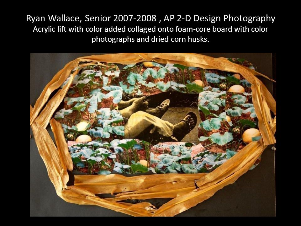 Ryan Wallace, Senior 2007-2008, AP 2-D Design Photography Acrylic lift with color added collaged onto foam-core board with color photographs and dried