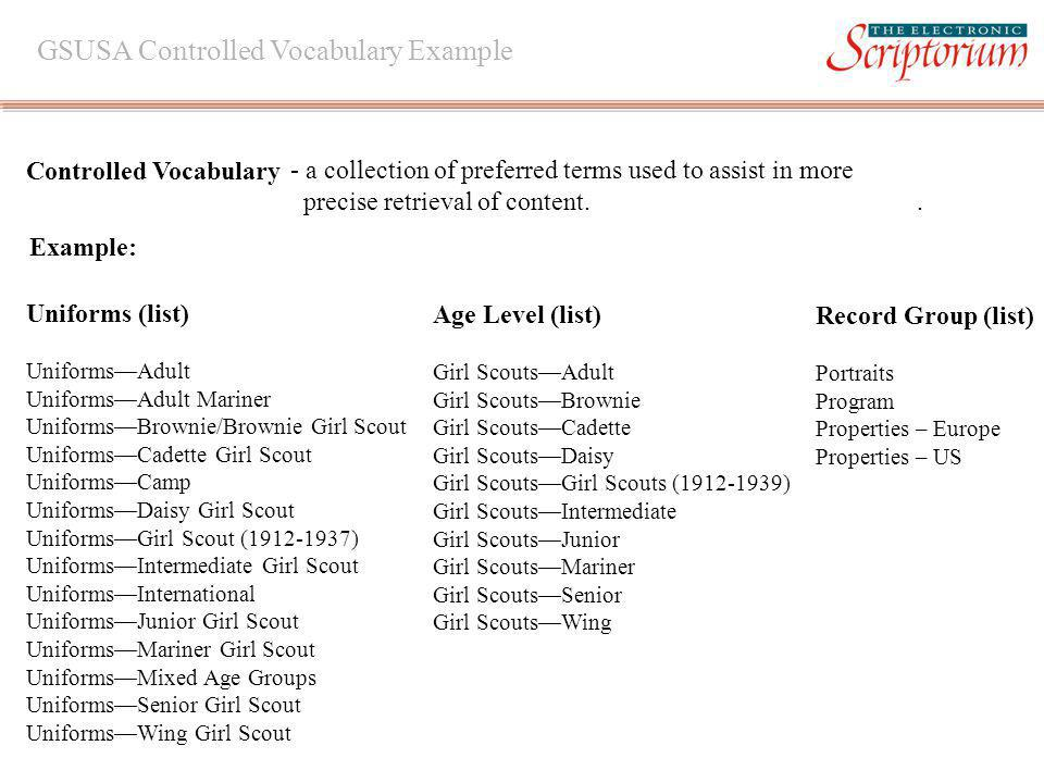 Example: GSUSA Controlled Vocabulary Example Controlled Vocabulary - a collection of preferred terms used to assist in more precise retrieval of content..