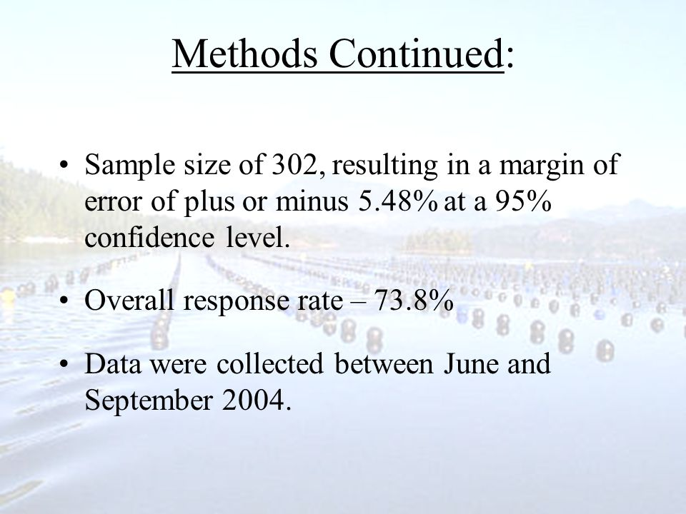 Methods Continued: Sample size of 302, resulting in a margin of error of plus or minus 5.48% at a 95% confidence level.